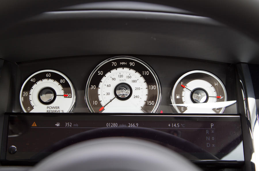 The instrument cluster in the Rolls-Royce Wraith