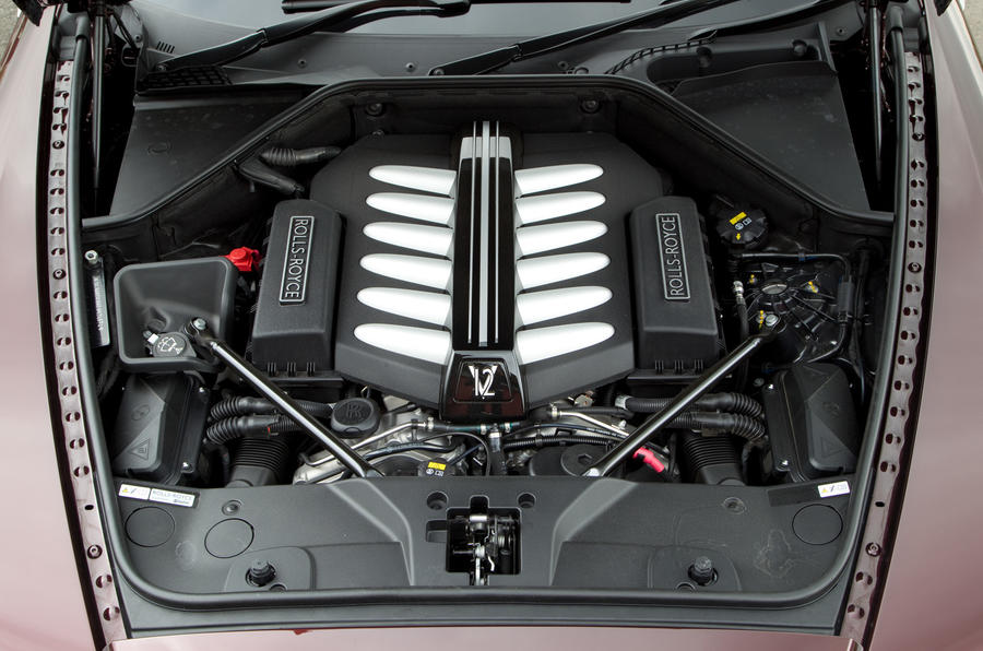 The twin-turbo 6.6-litre V12 engine in the Rolls-Royce Wraith producing 624bhp