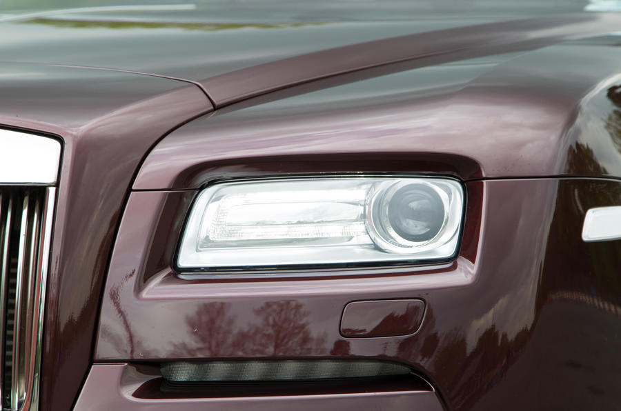 LED headlights are a modern nicety on the Rolls-Royce Wraith