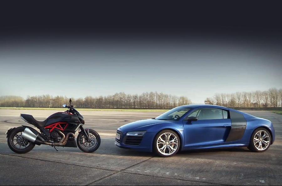 Audi R8 V10 v Ducati Diavel – 0-150-0