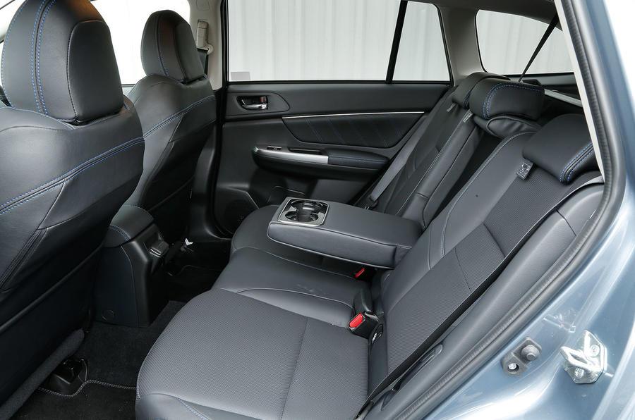 The rear seats in the Subaru Levorg