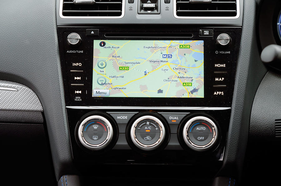 The infotainment system in the Subaru Levorg