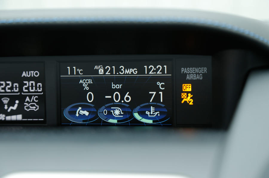This 4.3in display shows the turbo and tyre pressures on the Subaru Levorg