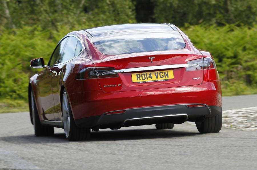 Tesla Model S rear cornering