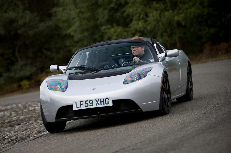 Tesla Roadster cornering