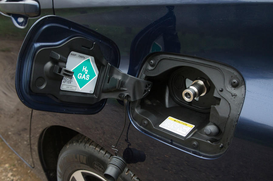 Toyota Mirai hydrogen fuel port