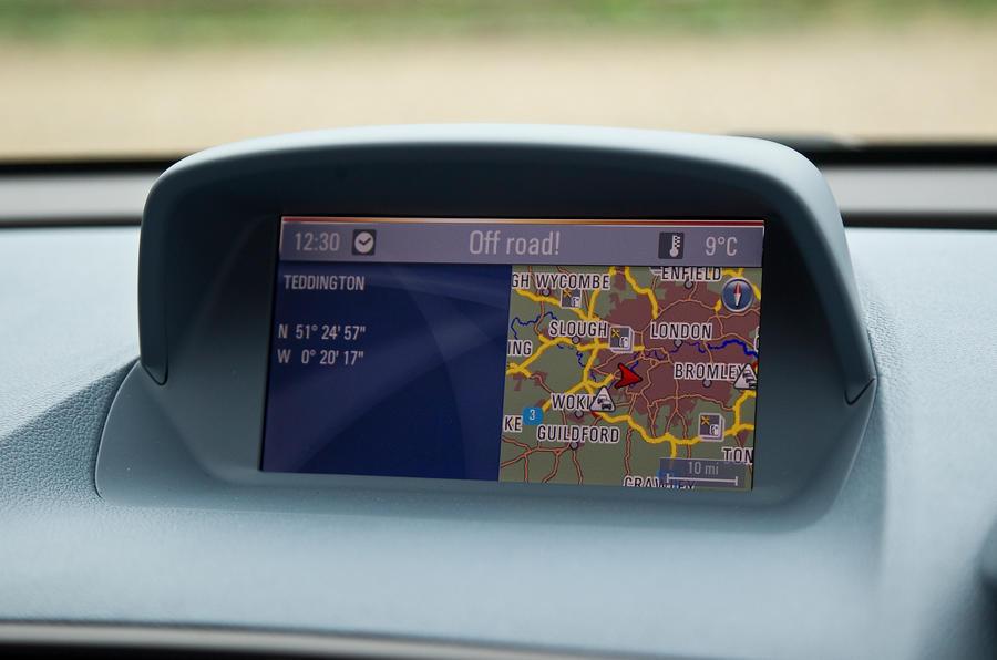 The optional sat nav screen in the Vauxhall Mokka