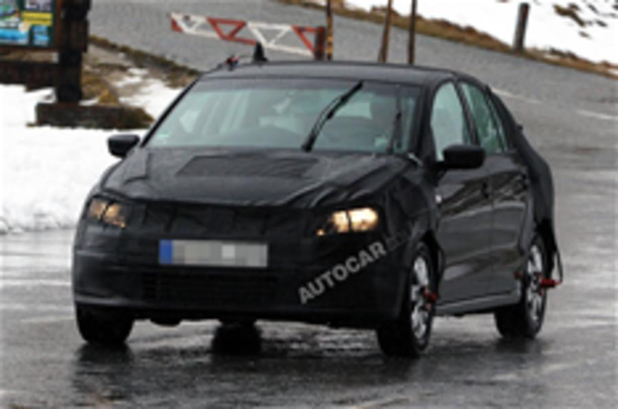 New VW Polo saloon spied