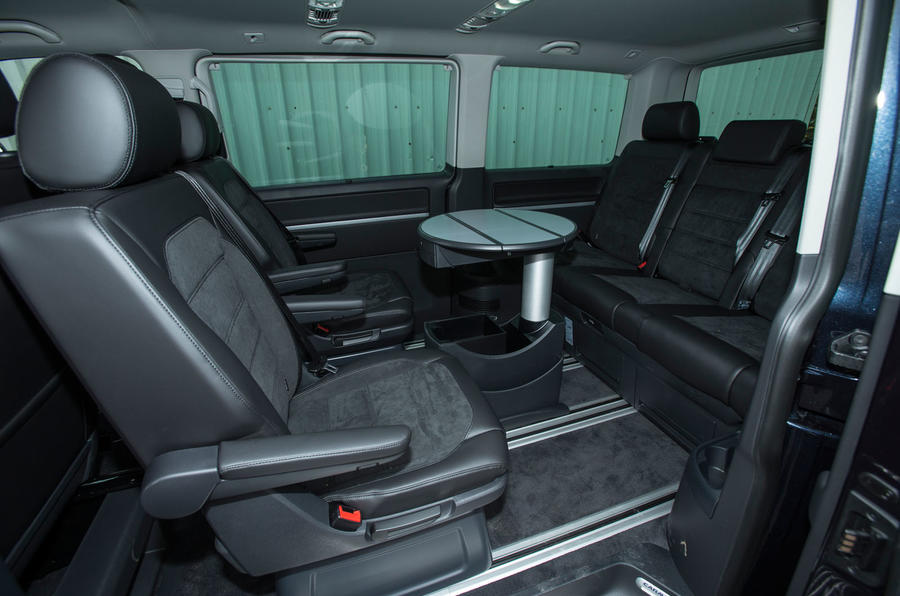 Inside the rear cabin of the spacious Volkswagen Caravelle T6
