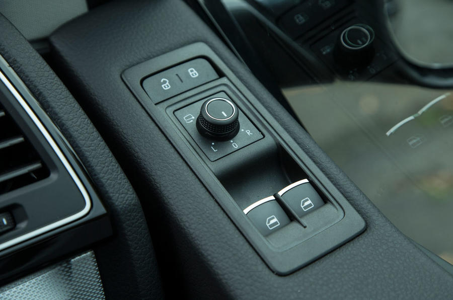 Close up of the window controls in the Volkswagen Caravelle