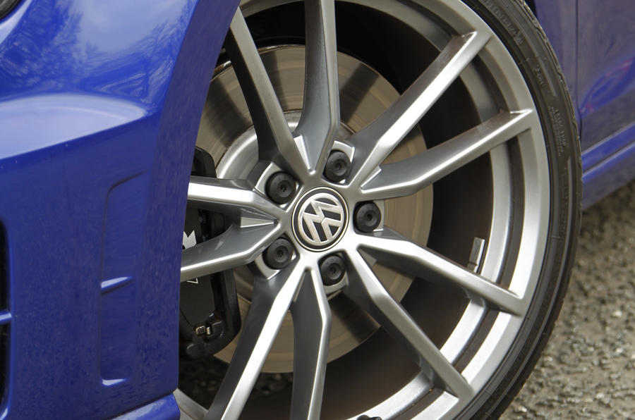 18in alloys are standard on the Volkswagen Golf R, but 19s are available if you want something more lairy