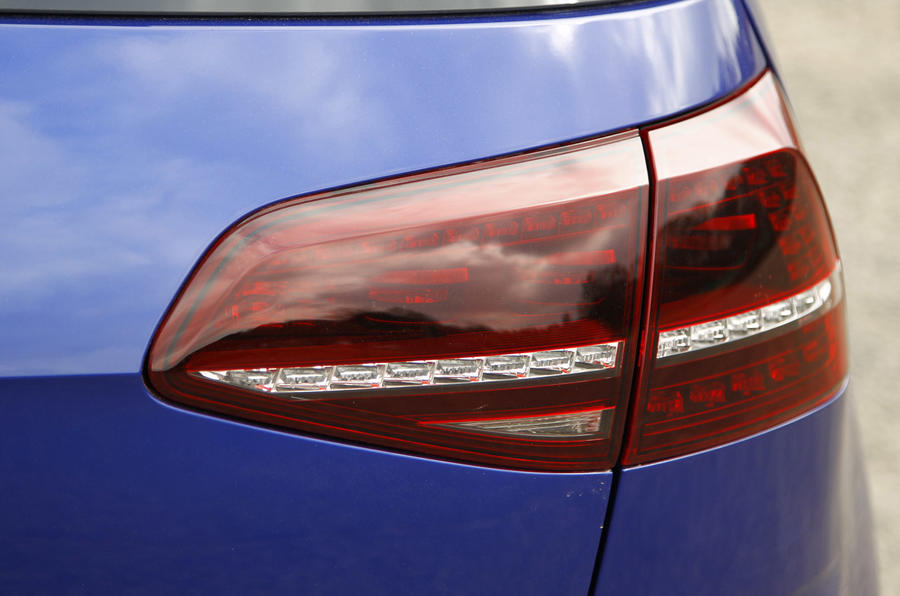 Smoked rear LED light clusters are a nice hot hatch touch on the Volkswagen Golf R