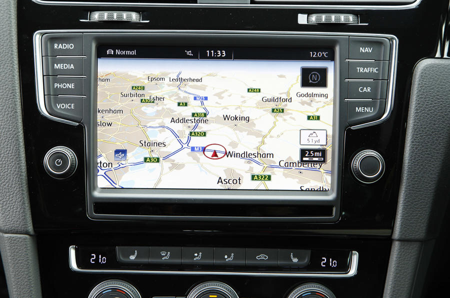 The infotainment system in the Volkswagen Golf R