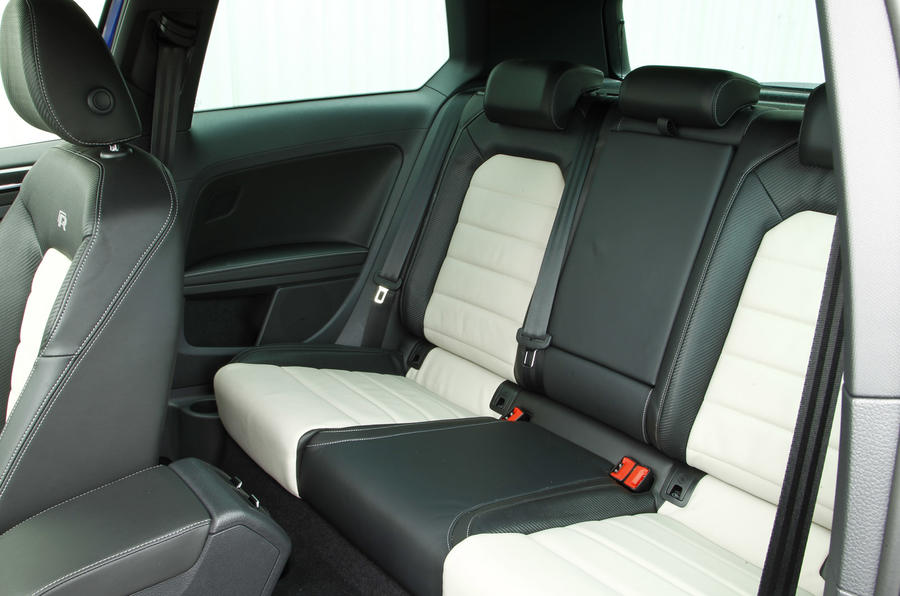 The rear seats in the Volkswagen Golf R