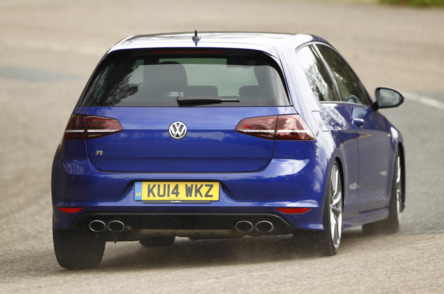 The Volkswagen Golf R is rapid and planted even in wet conditions