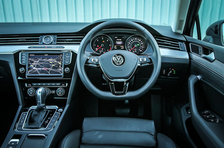 The driver's view from inside Volkswagen Passat