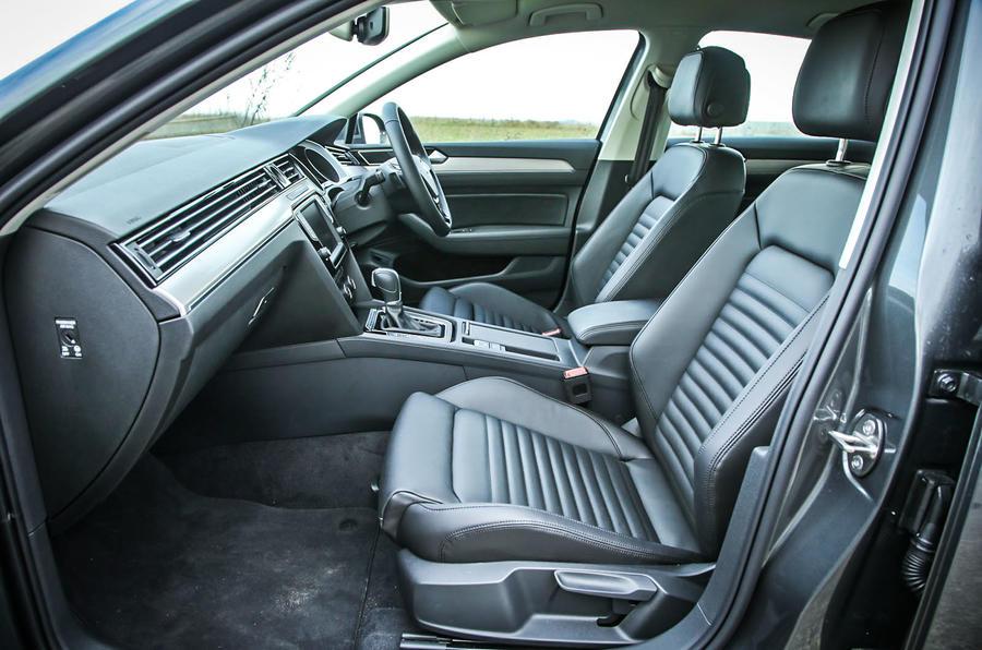 The front seats of the high-spec Volkswagen Passat