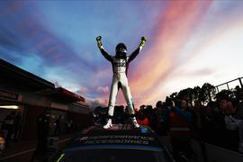 Colin Turkington celebrates victory in the 2019 BTCC title fight