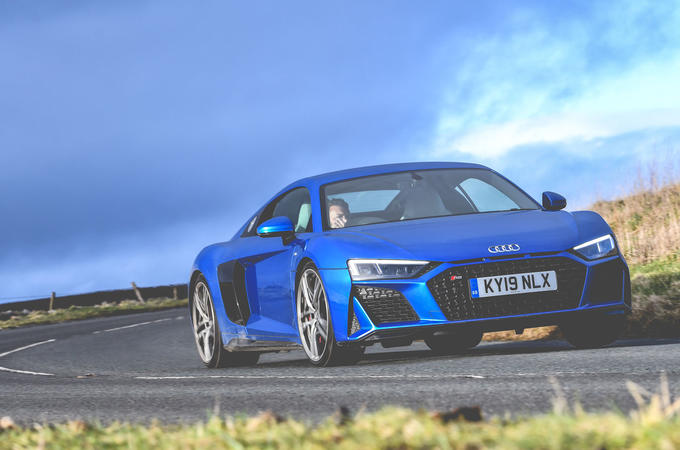 Audi R8 2019 UK first drive review - cornering front