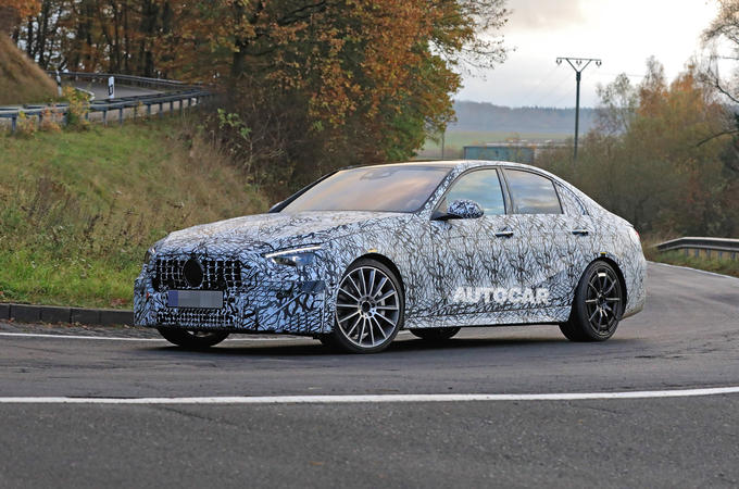 Mercedes-AMG C53 2021 spy images - tracking front