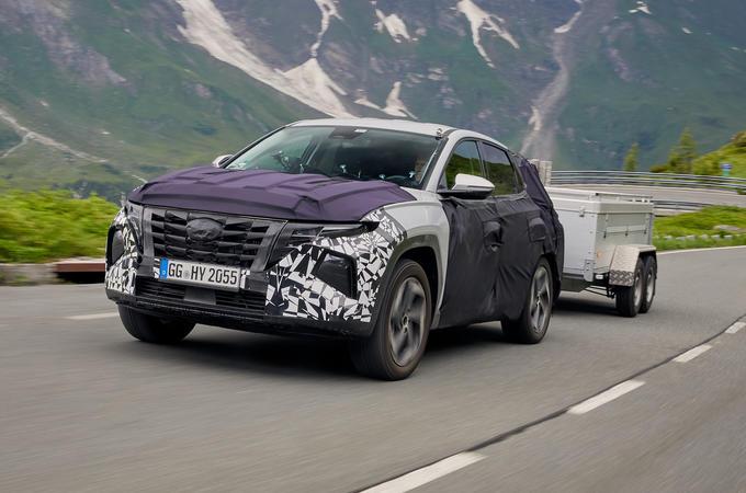 2021 Hyundai Tucson prototype with trailer