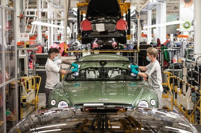 Bentley workers in Crewe before the coronavirus crisis