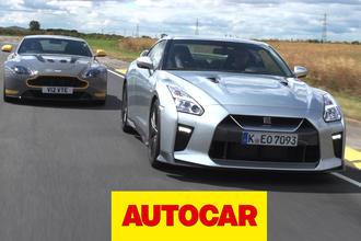 Nissan GT-R vs Aston Martin V12 Vantage S track battle | Autocar