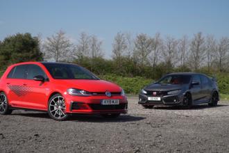 VW Golf GTI TCR vs Honda Civic Type R video thumbnail