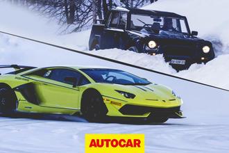 Lamborghini Aventador SVJ on ice