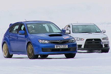 autocar.tv: Impreza STi v Evo X... on ice!