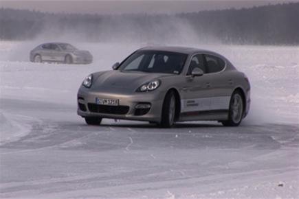 Porsche Panamera driving on ice
