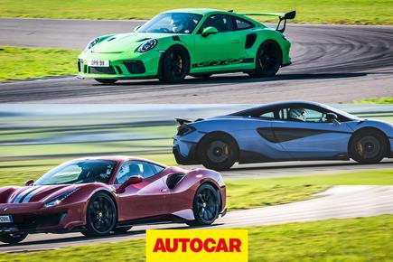 Ferrari 488 Pista vs McLaren 600LT vs Porsche 911 GT3 RS track battle thumbnail