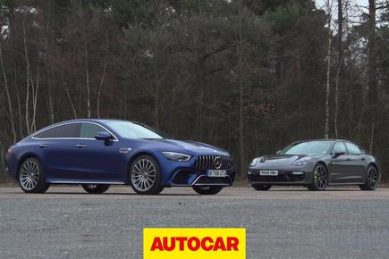 Porsche Panamera Turbo S E Hybrid vs Mercedes-AMG GT Four-door Coupe video thumbnail