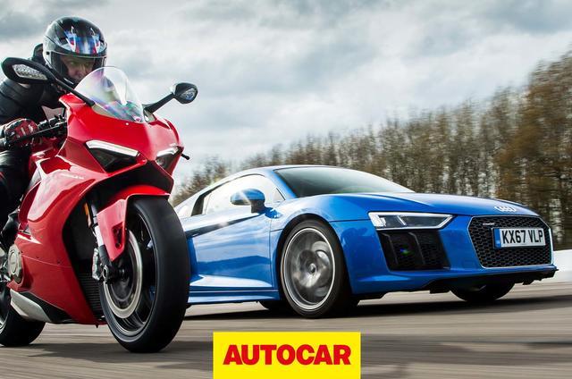 Audi R8 vs Ducati Panigale V4 superbike drag race